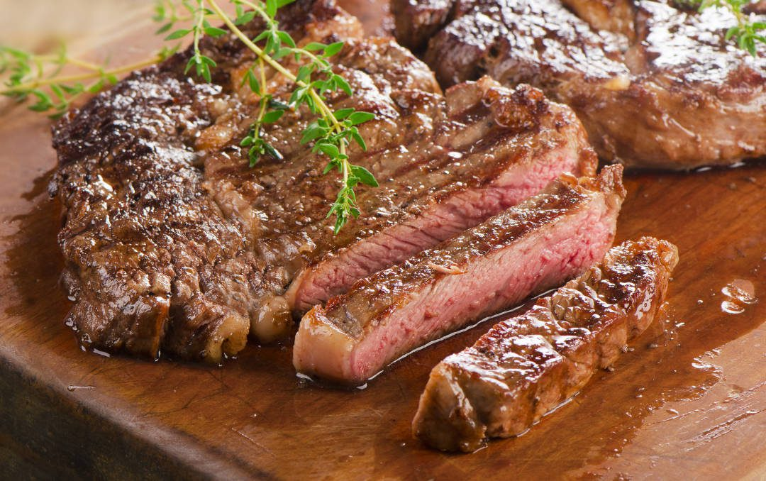Perfect cooked steak using meat thermometer