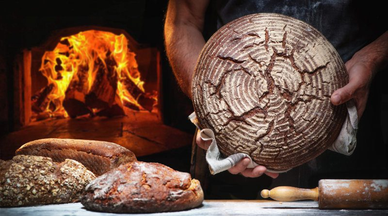 sourdough bread baked in pizza oven